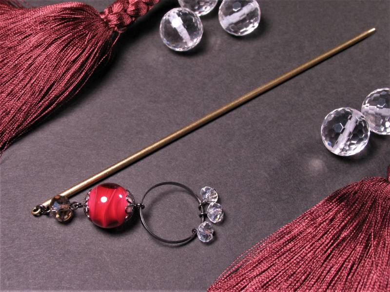 Japanese Lampwork Glass Beads Long Hairpin Red 14.5cm (5.7inch) Kanzashi StudioWAZA
