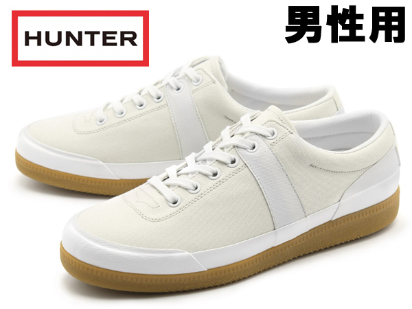 ハンター オリジナル ローキャンバス スニーカー 男性用 HUNTERメンズ スニーカー ホワイト (01-12476653)