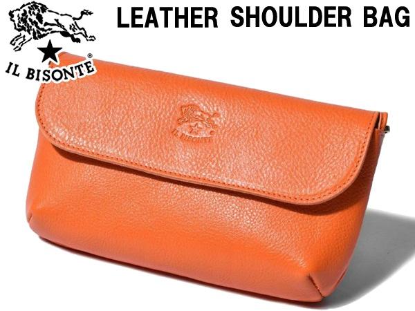イルビゾンテ レザー ショルダーバッグ 男性用兼女性用 IL BISONTE LEATHER SHOULDER BAG A2271TRP メンズ レディース ポシェット オレンジ (01-63600053)