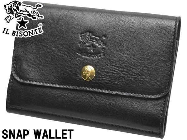 イルビゾンテ スナップウォレット 男性用兼女性用 IL BISONTE SNAP WALLET C0824 メンズ レディース 二つ折り財布 ネロ (01-63600102)