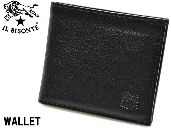 イルビゾンテ 二つ折り財布 男性用兼女性用 IL BISONTE M WALLET C0487 メンズ レディース ウォレット ネロ (01-63600163)