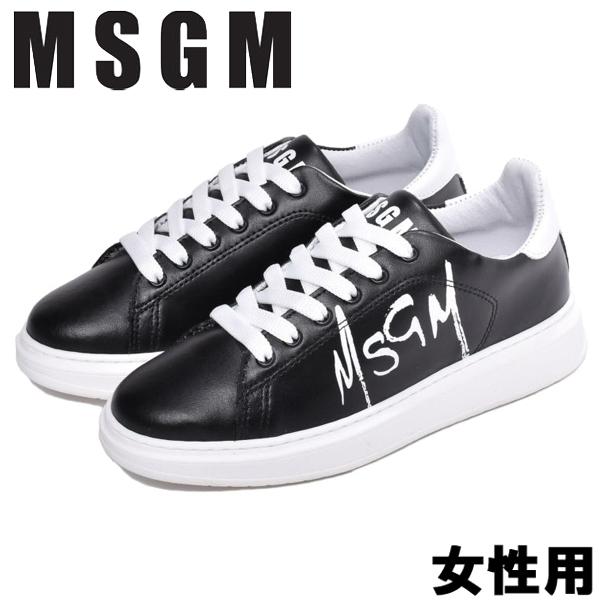 MSGM テニス レースアップ 女性用 MSGM TENNIS LACE-UP 2641MDS1708 123 レディース スニーカー ブラックxホワイト (01-13585010)