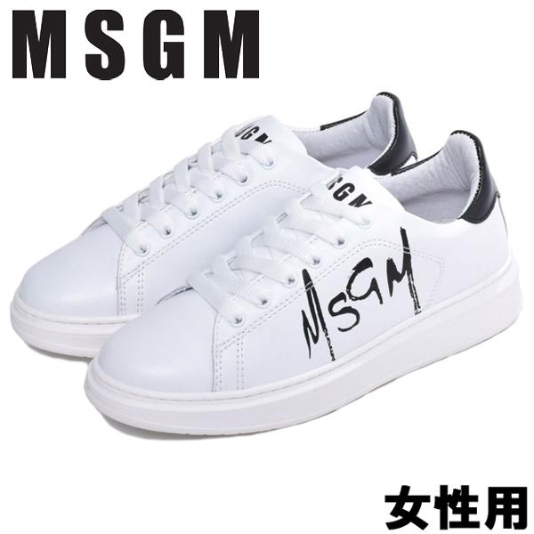 MSGM テニス レースアップ 女性用 MSGM TENNIS LACE-UP 2641MDS1708 123 レディース スニーカー ホワイトxブラック (01-13585011)