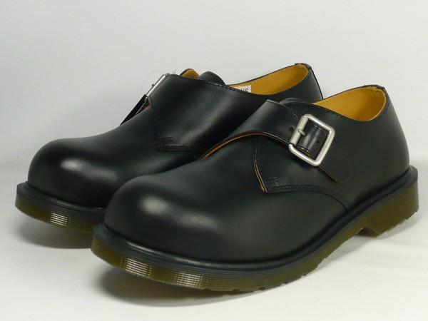 瑕疵物品博士马丁乔伊钢铁二DR.供MARTENS JOEY人皮革僧侣吊带鞋男性使用的黑色27.0cm UK8.0 R15738001(dm033)