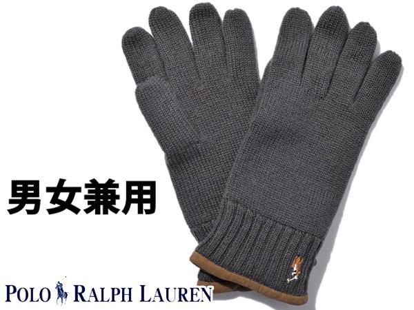 ポロ ラルフローレン ワンポイントグローブ 男性用兼女性用 POLO RALPH LAUREN PC0043 メンズ レディース 手袋 ネイビーグレー (01-21238519)