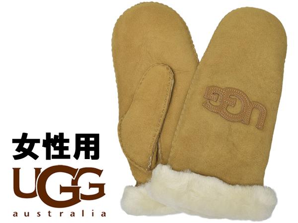 UGG アグ ロゴ ミトン 女性用 17370 レディース グローブ 手袋 チェスナット (01-22645461)