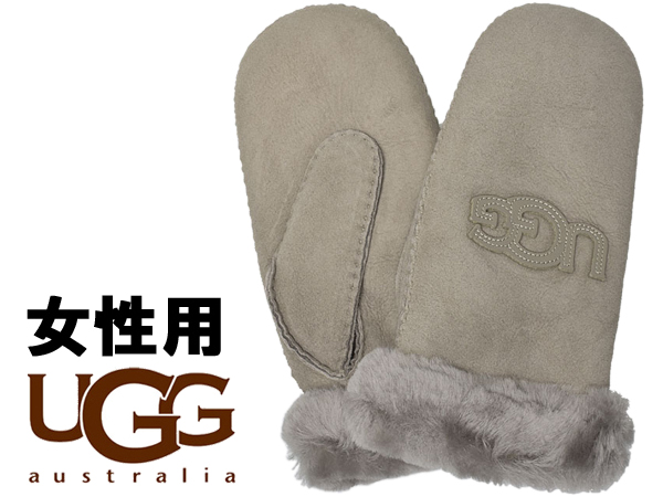 UGG アグ ロゴ ミトン 女性用 17370 レディース グローブ 手袋 ストーミーグレー (01-22645462)