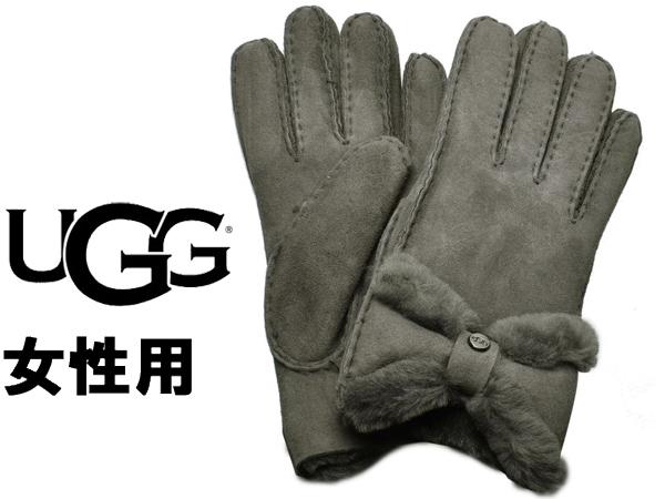 UGG アグ シープスキン ターン ボウ グローブ 女性用 UGG W SHEEPSKIN TURN BOW GLOVE 18696 レディース 手袋 チャコール (01-22645502)
