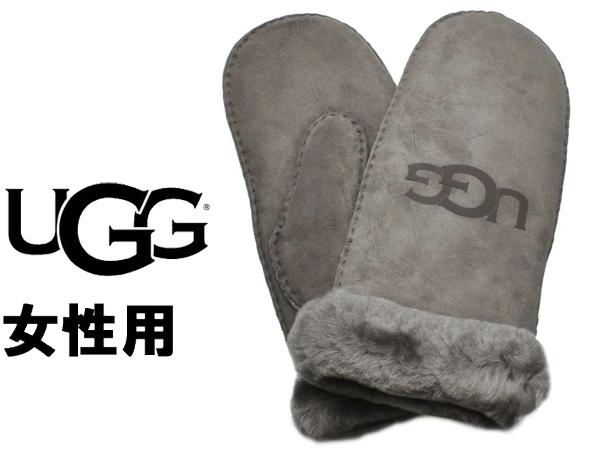 UGG アグ シープスキン ロゴ ミトン 女性用 UGG W SHEEPSKIN LOGO MITTEN 18690 レディース 手袋 チャコール (01-22645512)