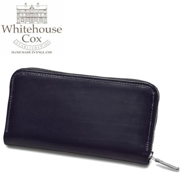 ホワイトハウスコックス ラージ ジップ ラウンド パース 男性用兼女性用 WHITEHOUSE COX LARGE ZIP ROUND PURSE S2722 メンズ レディース 財布 ネイビーxレッド (01-60490002)