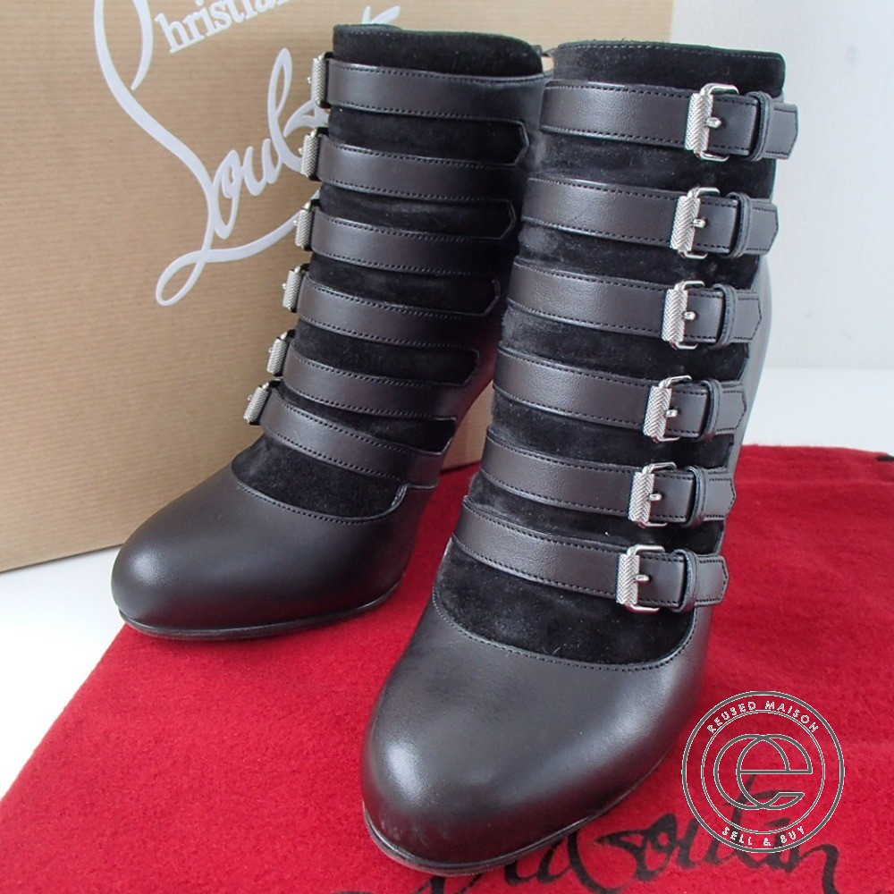 newest 0906a 45f71 Christian Louboutin ATTROUPEE 100 CALF/VEAU VELOURS/CUOIO black heel boots  36 shoes Lady's