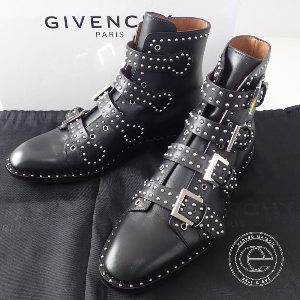 Givency【ジバンシー】 BM08253829 K LINE 4BUCKLES BOOTS スタッズ装飾 レザーバックルブーツ40 メンズ 【中古】