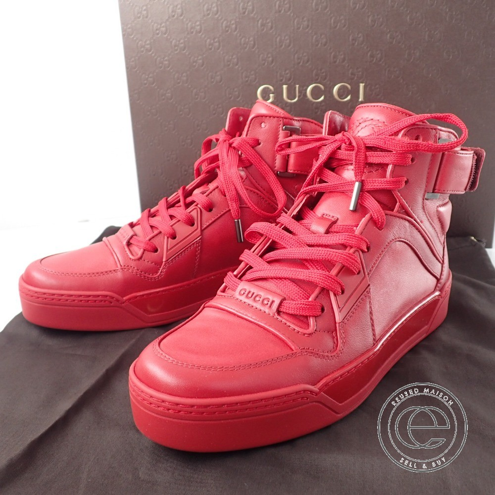 GUCCI【グッチ】 388015-A3840-6433 NewWoman REDleather high-top sneaker レディース レッド レザー ハイ-トップスニーカー38 シューズ レディース 【中古】