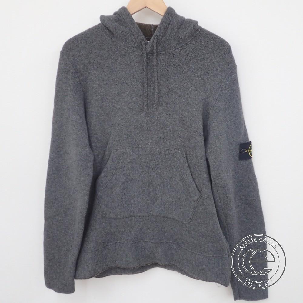 【StoneIslandストーンアイランド】国内正規■ 491556B4/393 hooded sweater ウール ニット プルオーバーパーカーL グレー トップス メンズ 【中古】