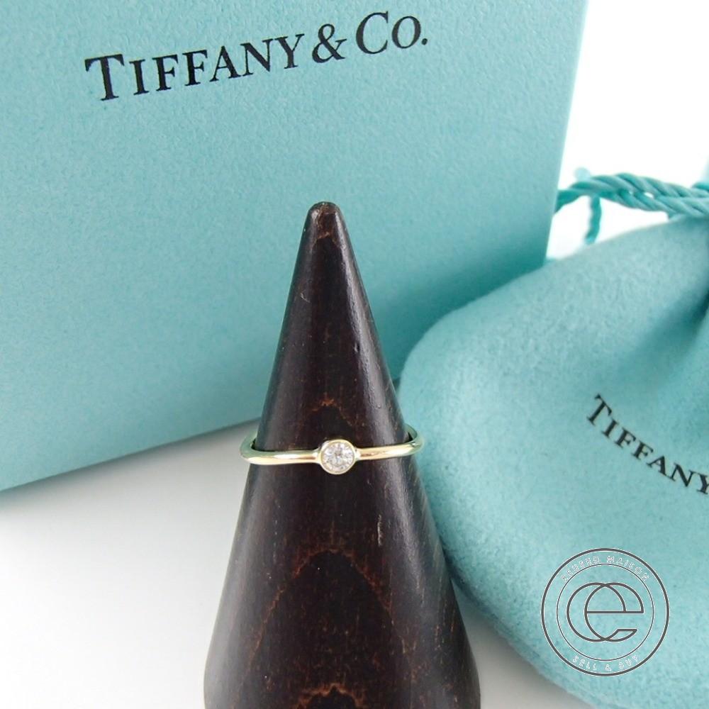 【TIFFANY&Co.ティファニー】K18/ダイヤモンド0.06ct エルサ・ペレッティ ウェーブ シングル ロウ ダイヤモンドリング・指輪 イエローゴールド 750YG レディース 【中古】