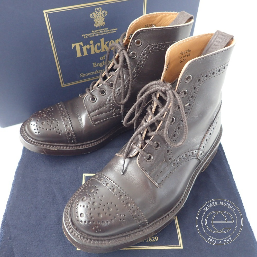 Tricker's【トリッカーズ】 M7046 トゥキャップブローグブーツ 6 FIT:5 レザー メンズ 【中古】