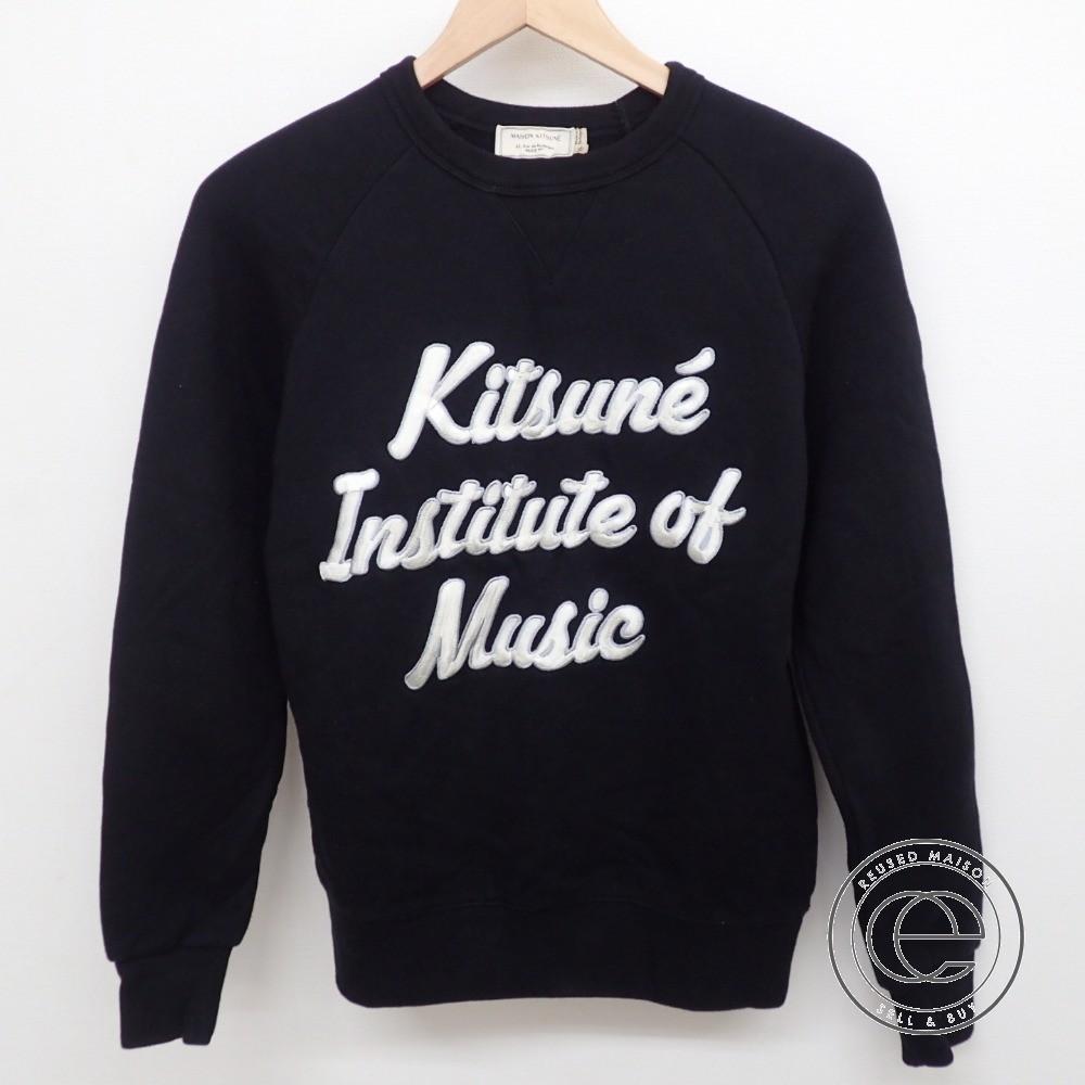 MAISON KITSUNE【メゾンキツネ】 KMM0553 SWEAT K.I.M 刺繍入り クルーネック スウェット/トップスXs ブラック メンズ 【中古】