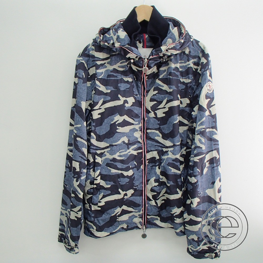 size 40 9ba4d ab592 Men of MONCLER domestic regular NATH GIUBBOTTO camouflage pattern nylon  parka jacket 1 navy origin