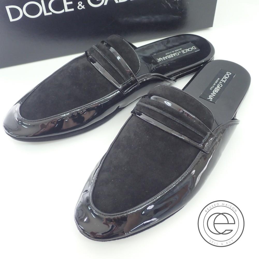 Dolce&Gabbana【ドルチェアンドガッバーナ】 TUBOLARE F SACCHETTO CAMOSCIO 黒 スリッポン42 シューズ メンズ 【中古】