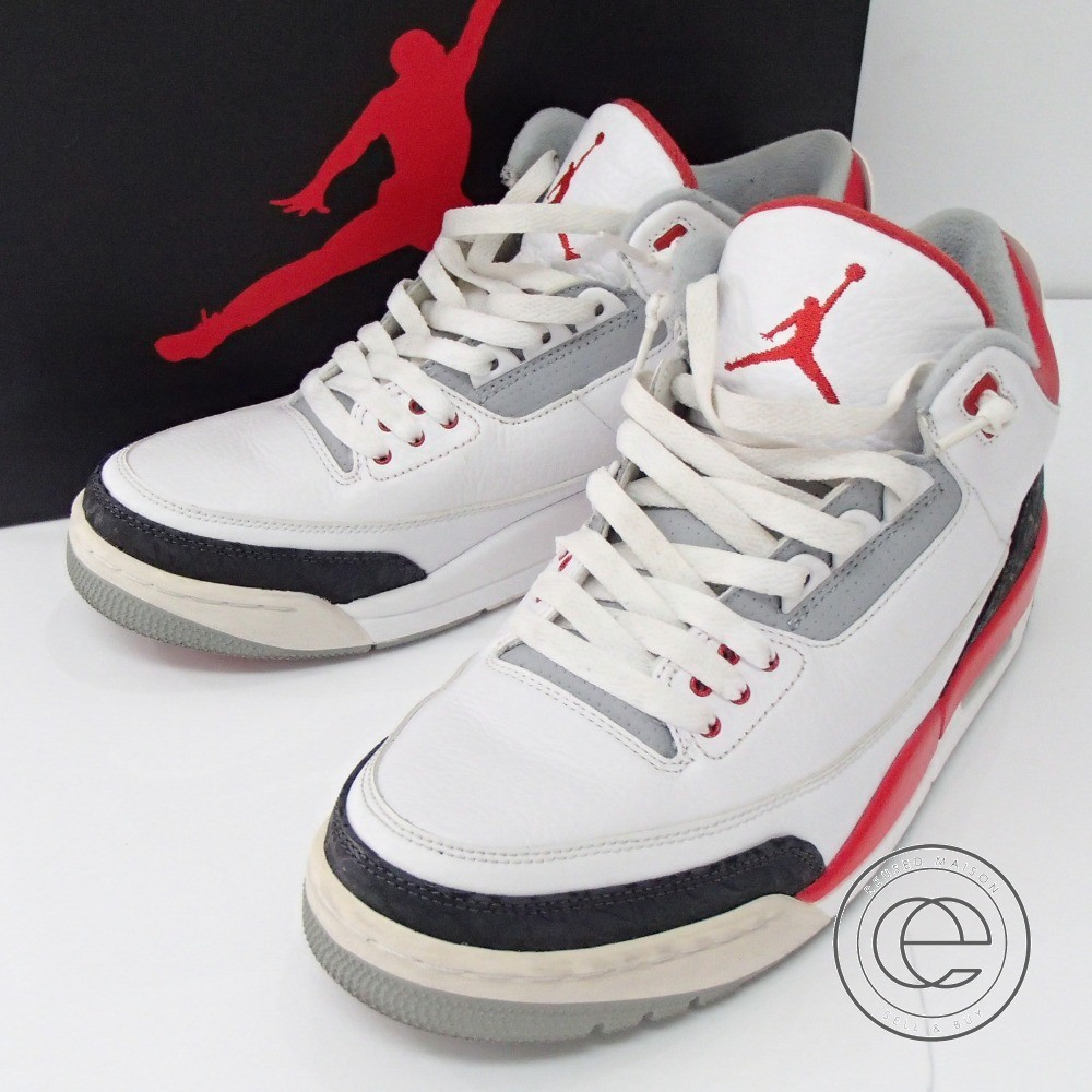 brand new 0161e 9d5cc NIKE 136,064-120 AIR JORDAN III RETRO Air Jordan 3 nostalgic sneakers 27  WHITE/FIRE RED-NEUTRAL GREY-BLACK men