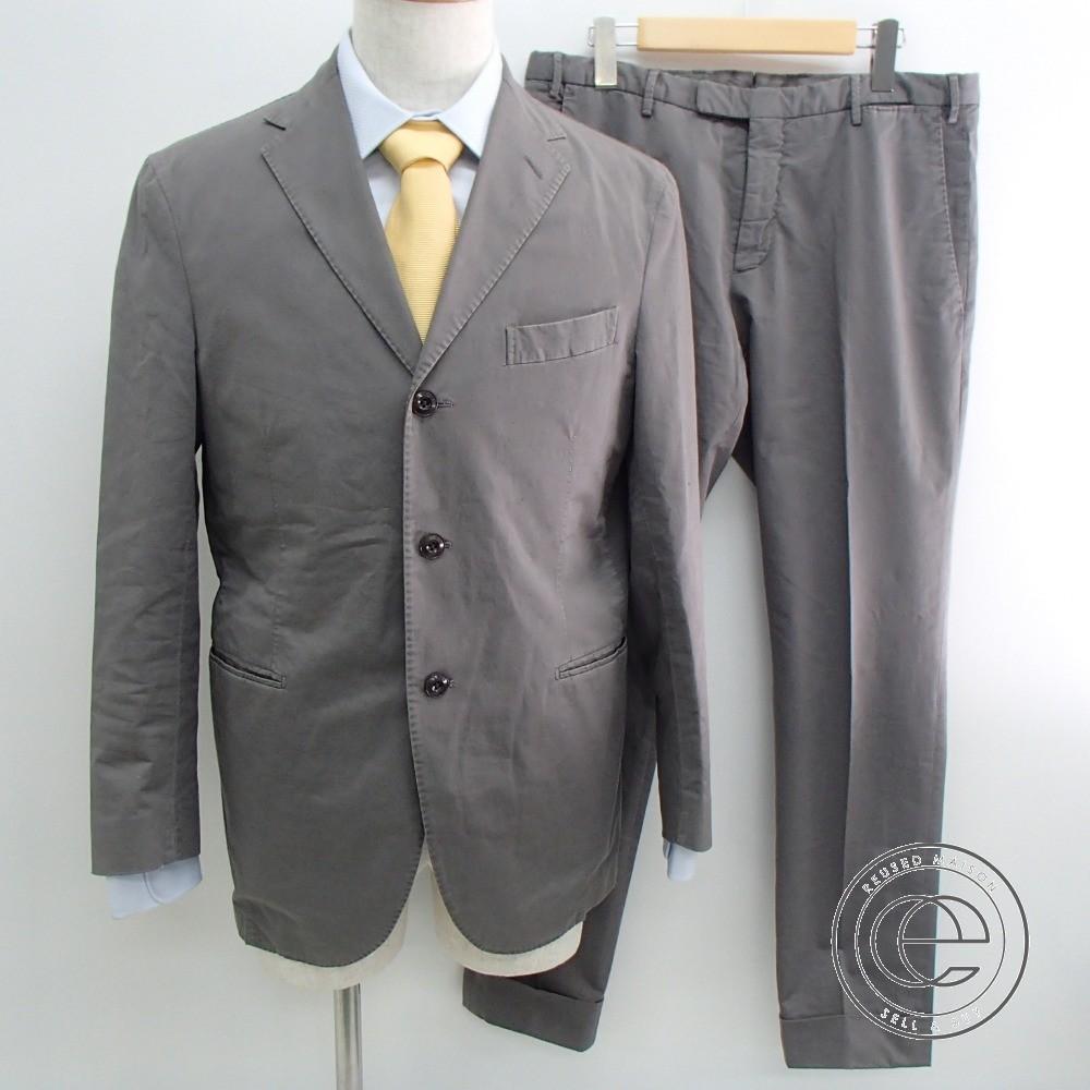 【BOGLIOLIボリオリ】 R31S2G リネン混コットン スーツ48 グレー メンズ 【中古】