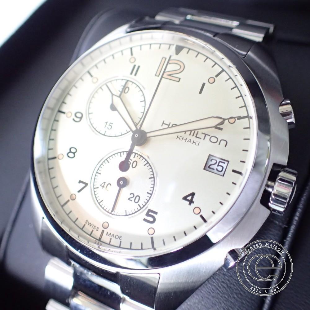 2086713cc BrandRecycleEcostyle: HAMILTON H765120 KHAKI khaki pilot chronograph ...