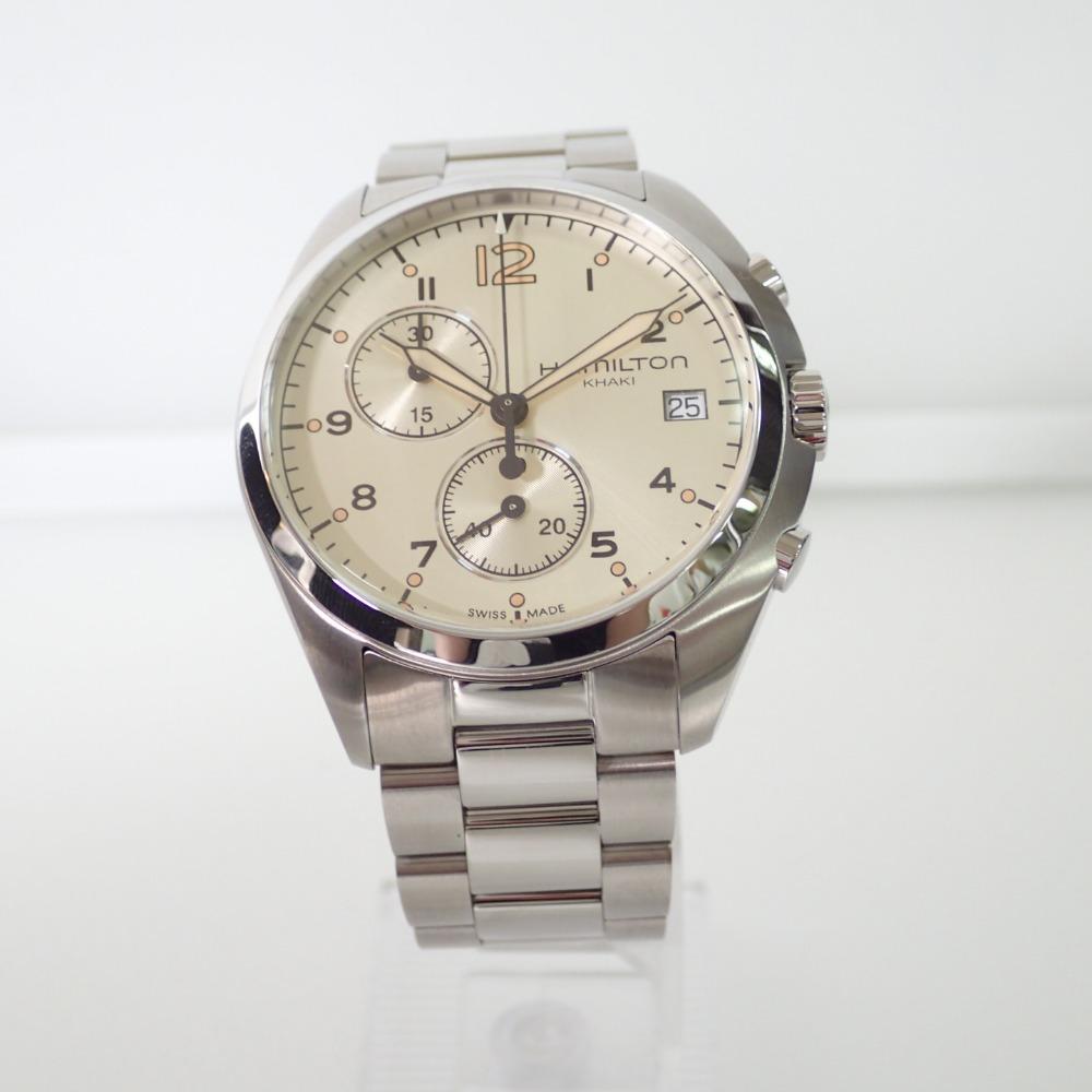 278cec313 ... HAMILTON H765120 KHAKI khaki pilot chronograph quartz watch stainless  steel silver men ...