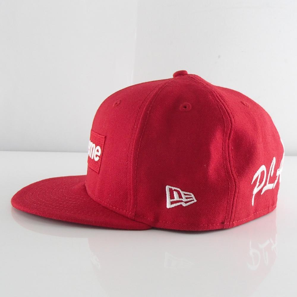 CAPボックスロゴキャップ// ERA×PLAY 【中古】 ×NEW シュプリーム 7 1//2 帽子 レッド×ホワイト /(59.6cm/) BOY BOX LOGO Supreme