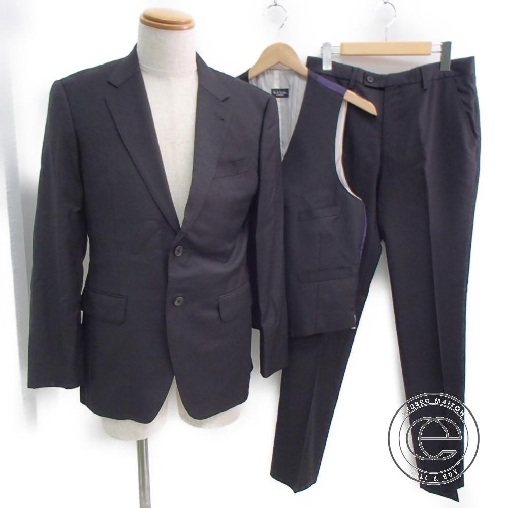 PaulSmith ポールスミス Loro Pianaロロピアーナ社製生地 Super130's wool 3P スーツ L ブラック/パープル メンズ 【中古】