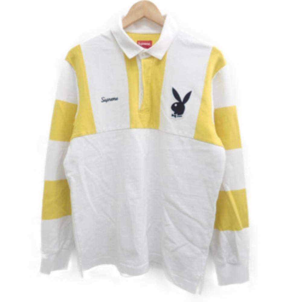 Supreme シュプリーム 【国内正規〇17AW】×PlayBoy Rugby Shirt ロゴ ワッペン/刺繍入り 長袖ラガーシャツ/トップスM ホワイト×イエロー メンズ 【中古】