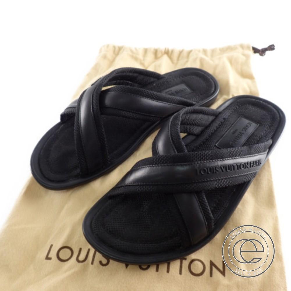 LOUIS VUITTON ルイ・ヴィトン ダミエ クロスバンドサンダル シューズ 6 ブラック メンズ 【中古】