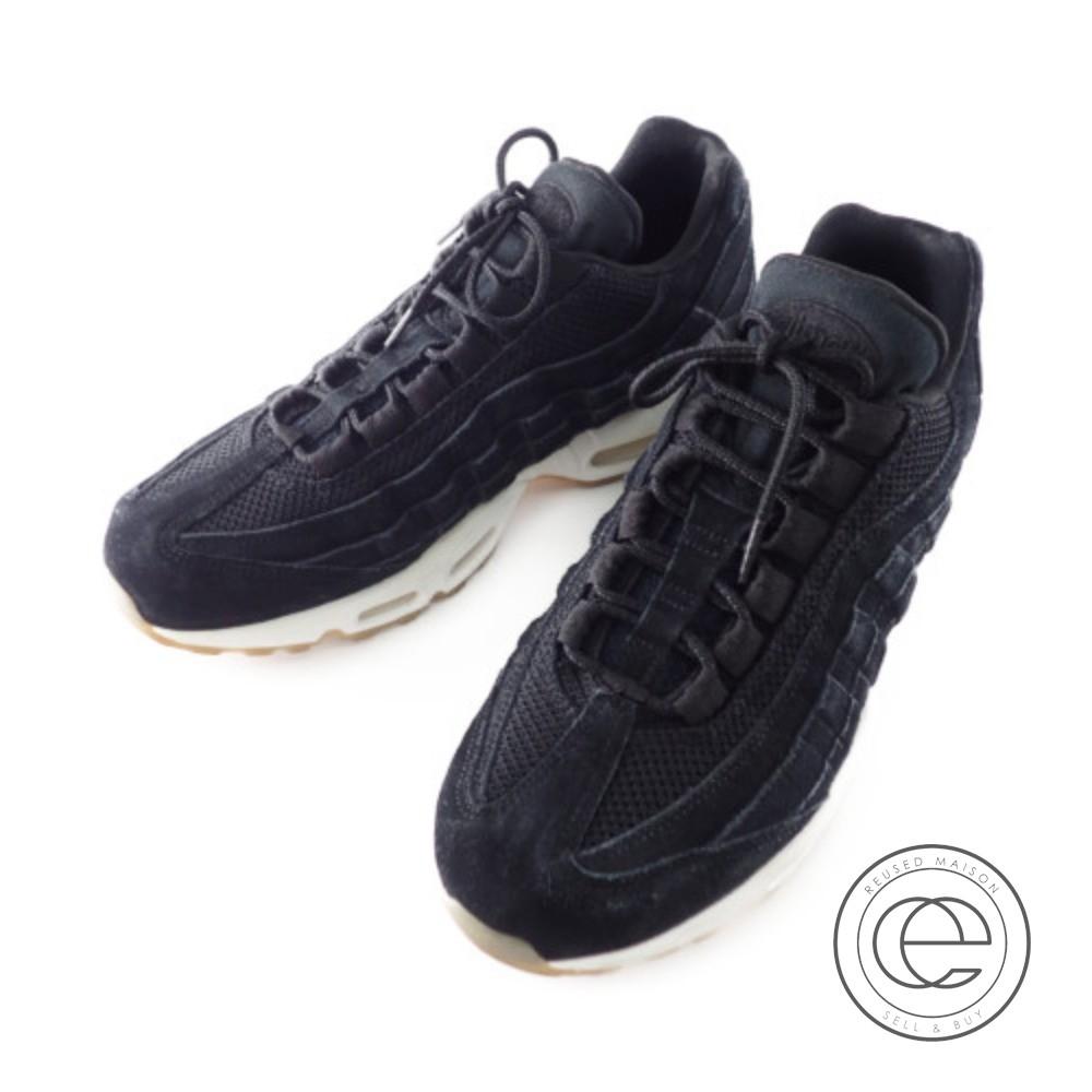 NIKE Nike 538,416 004 AIR MAX 95 PRM Air Max 95 premium sneakers 29 BLACKBLACK MUSLIN WHITE men