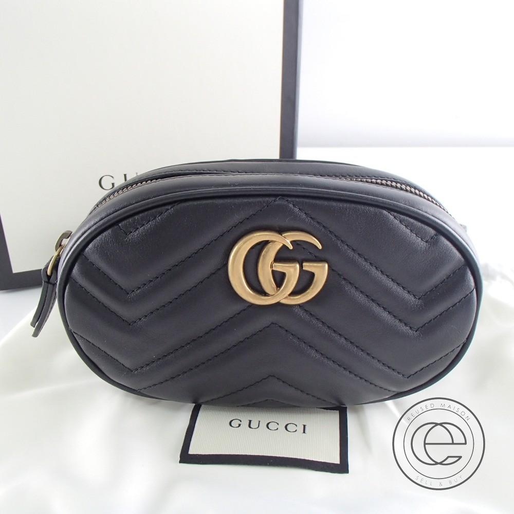 GUCCI グッチ 未使用☆476434 GG Marmont Matelasse Leather Belt Bag GGマーモント キルティングレザーベルトバッグ/ウエストバッグ ブラック 【中古】