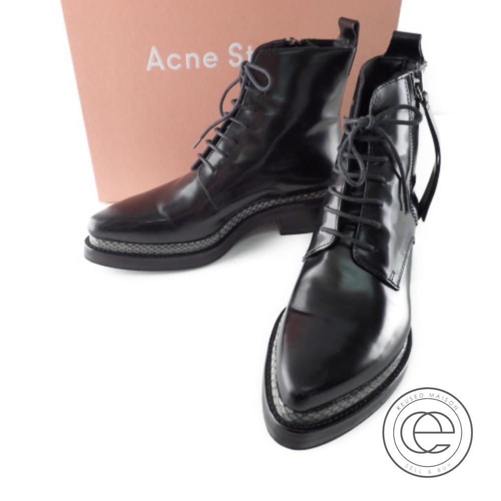 Acne Studios アクネストゥディオズ 1EEC53 LINDEN レザーサイドジップブーツ 37 ブラック/グレー レディース【中古】