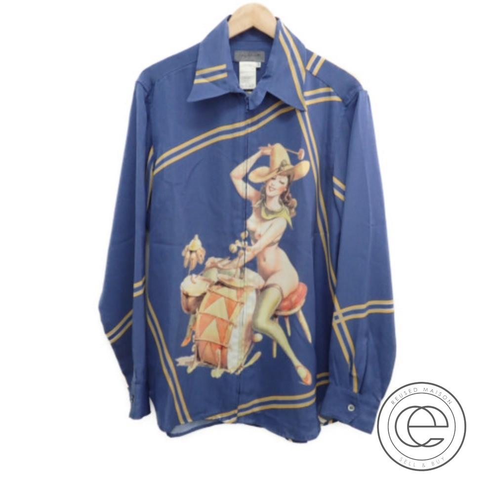 Yohji Yamamotoヨウジヤマモト AW02 Western Pin Up Girl Zip Shirt ウェスタンピンアップガールジップシャツ3 トップス ブルー系 メンズ 【中古】