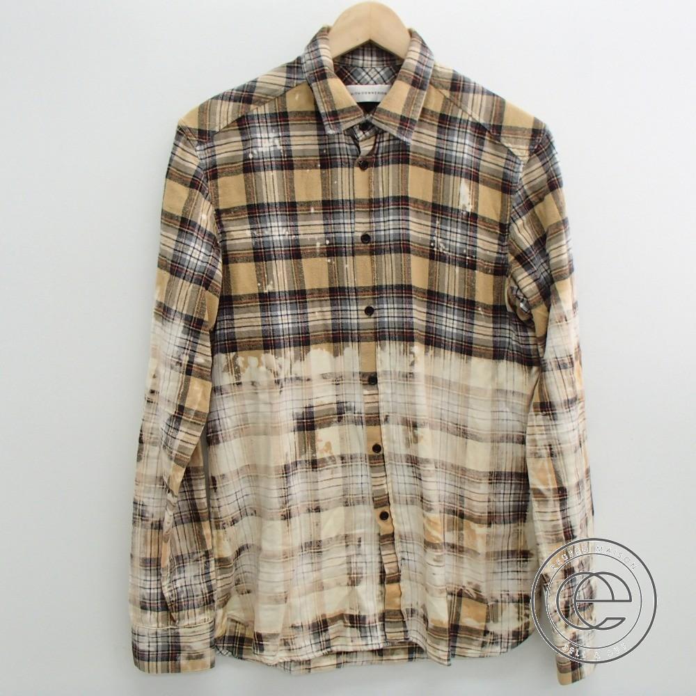 Faith Connexionフェイスコネクション M1803T00017 faded plaid shirt フェードチェック柄 ブリーチ加工シャツ トップス S ベージュ メンズ 【中古】