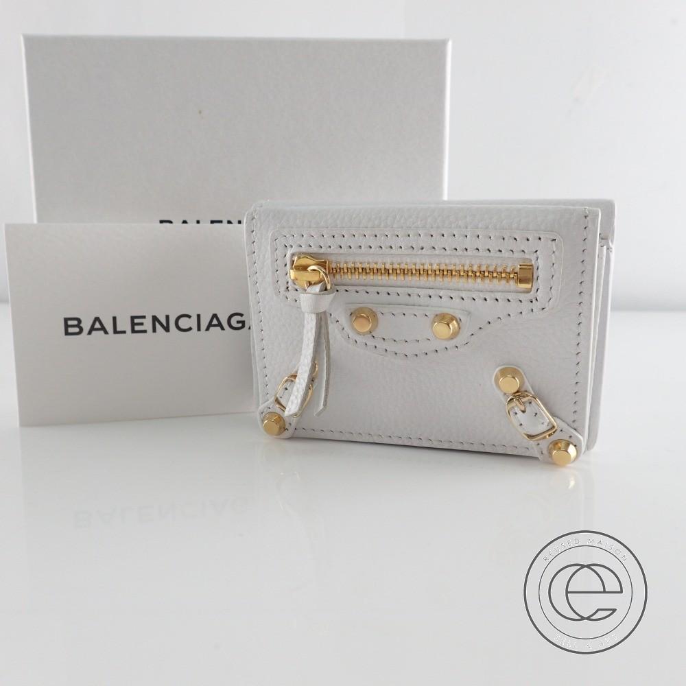 BALENCIAGAバレンシアガ 431653 CLASSIC MINI クラシック ミニ ウォレット 三つ折り財布(小銭入れあり) ホワイト/ゴールド レディース 【中古】