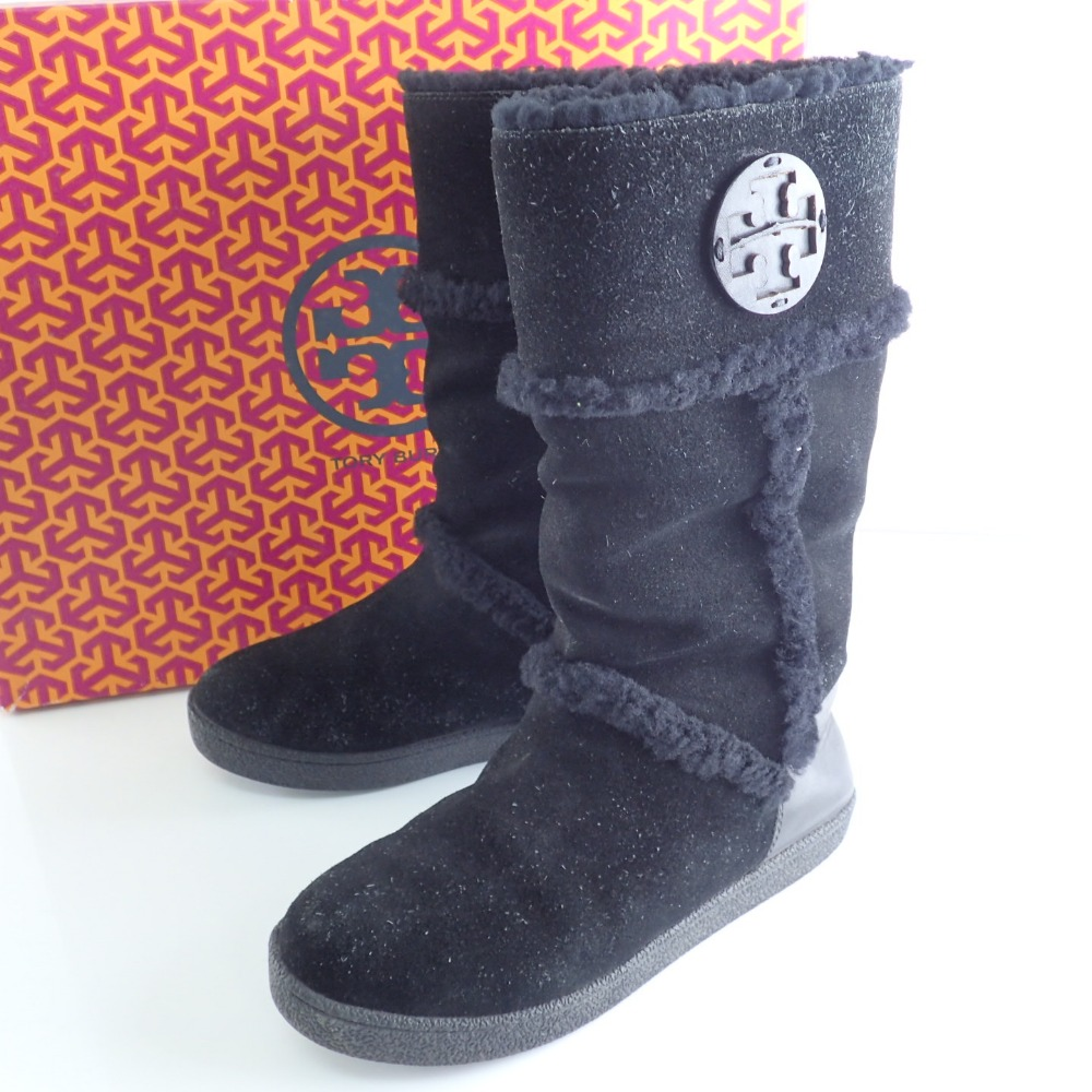a5cb42d217d Tory Burch Tolly Birch 33128511 side logo mouton boots shoes US6 black  Lady's