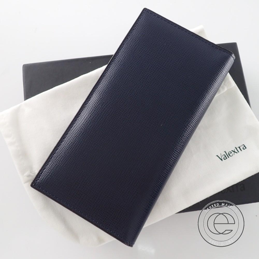 Valextra ヴァレクストラ ヴァーティカル 12カード 長財布(小銭入れなし) ネイビー 【中古】