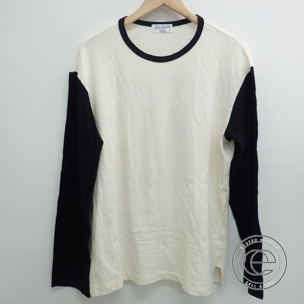 Yohji Yamamotoヨウジヤマモト 16AW HR-T34-072 Poppy PT L/S 長袖Tシャツ/トップス1 ホワイト×ブラック メンズ 【中古】