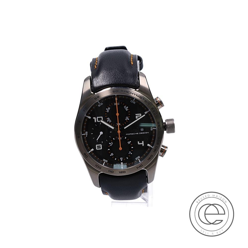 Porsche Designポルシェデザイン 6010.1.10.007 Chronotimer Series 1 クロノタイマー・タンジェリン シースルーバック 自動巻き 腕時計 シルバー/ブラック メンズ 【中古】
