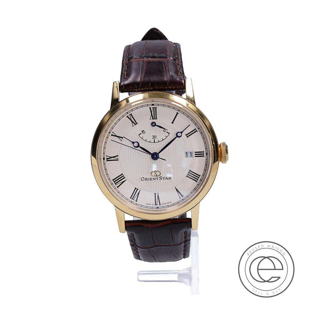 ORIENTSTARオリエントスター WZ0321EL 40N52 エレガントクラシック シースルーバック 自動巻き(手巻き付) 腕時計 ゴールド メンズ 【中古】