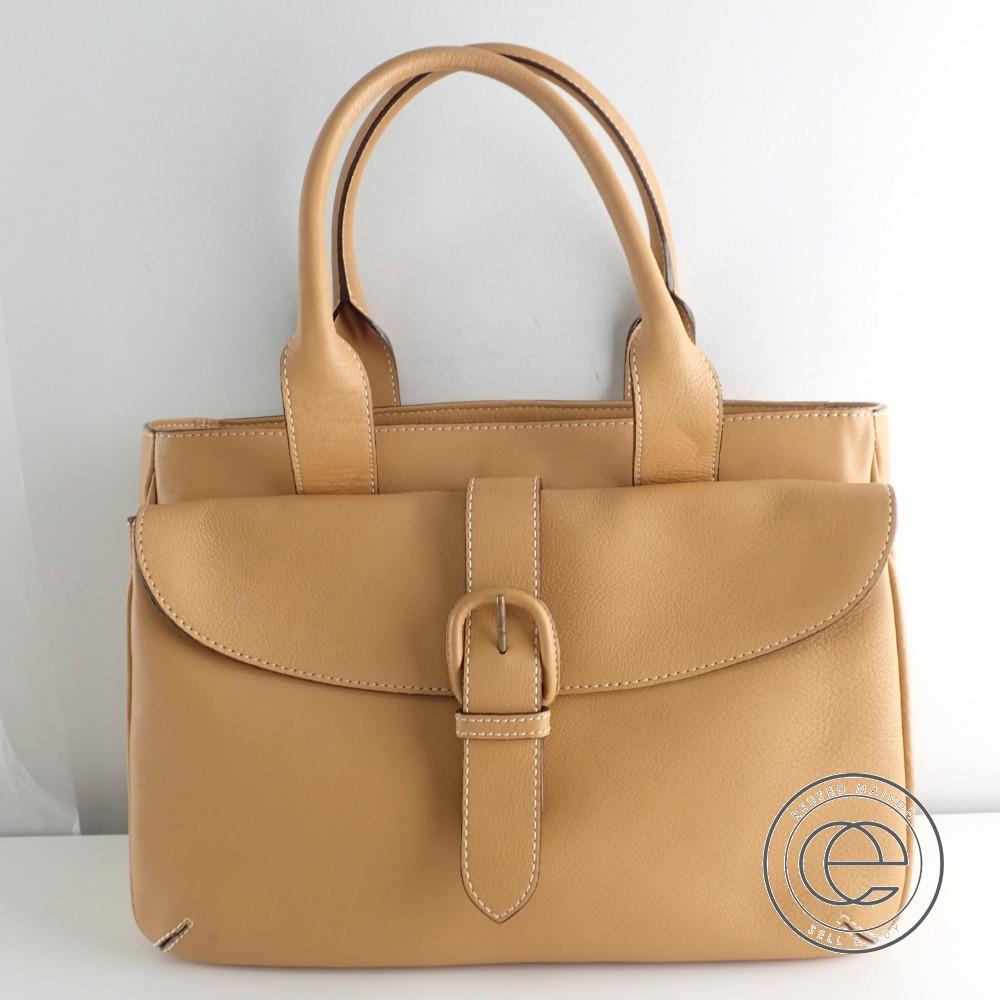 3df565811c71 土屋鞄 ベルトデザイン ハンドバッグ イエローブラウン系 レディース 【中古】
