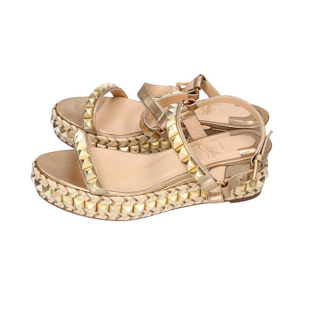 quality design 60bbc d1109 Christian Louboutin クリスチャンルブタン CATACLOU 60 CALF カタクロウスタッズ X espadrille  sandals 35 gold Lady's
