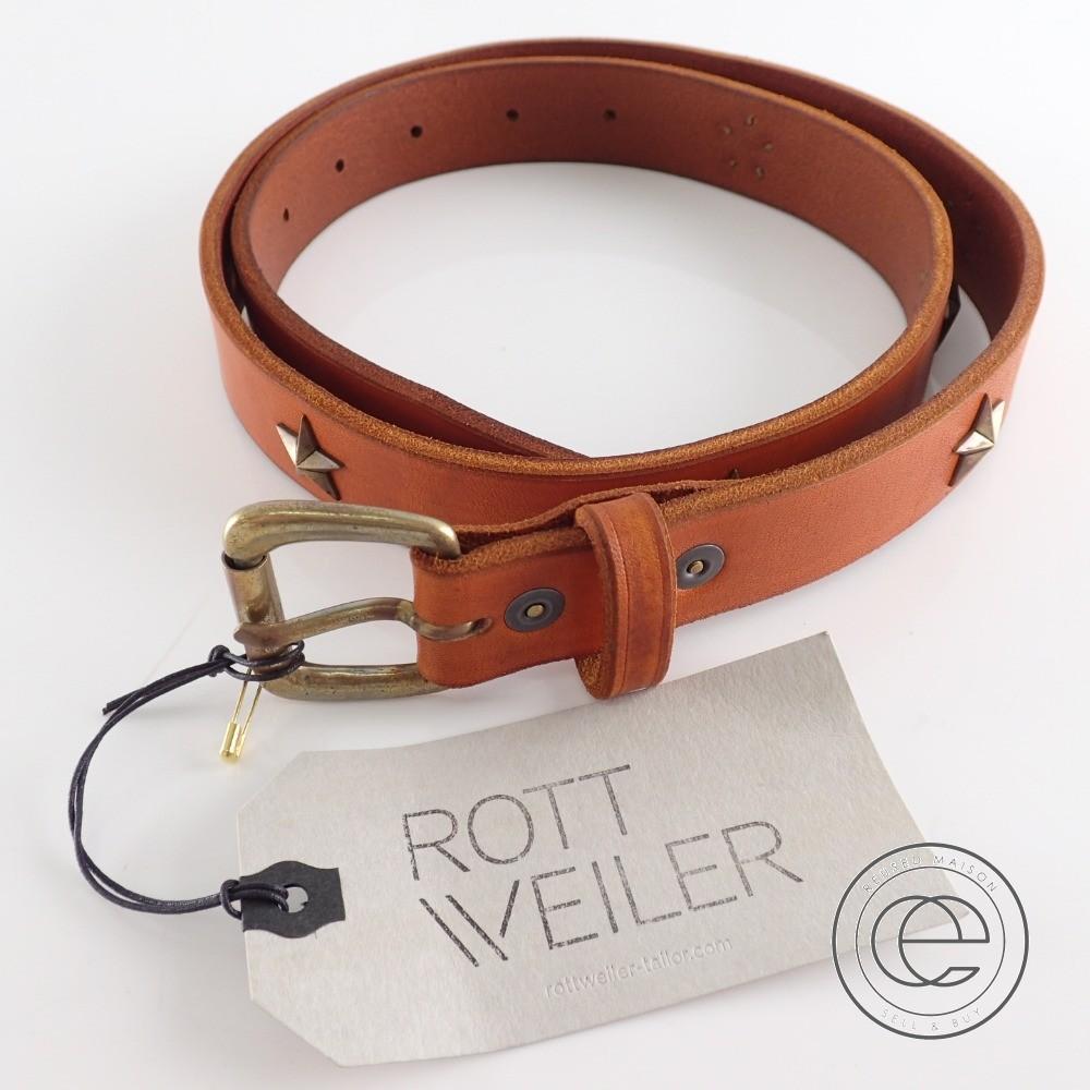 ROTTWEILER ロットワイラー RTW15S-FT02 スタースタッズレザー ベルト ブラウン メンズ 【中古】