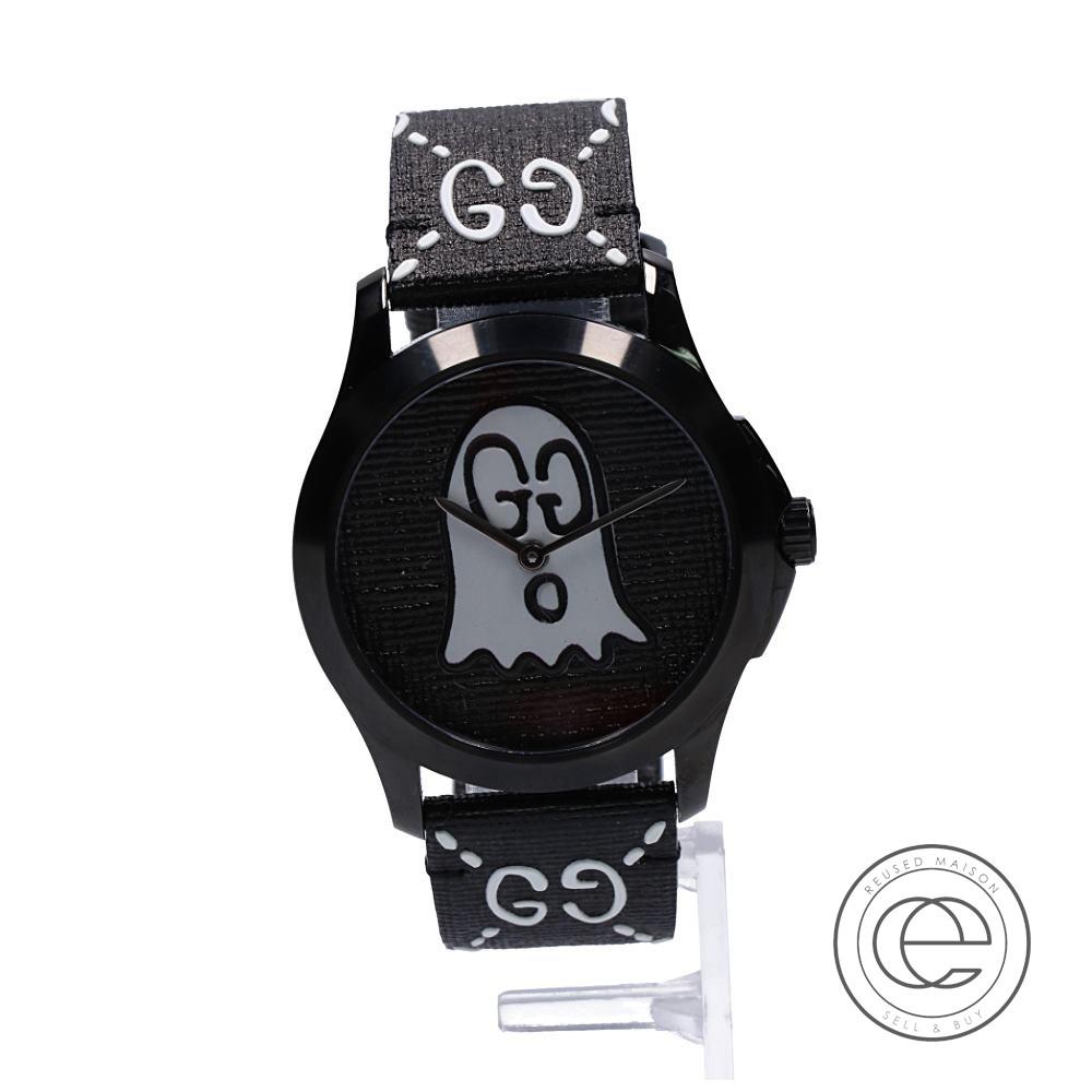 GUCCI グッチ YA1264018 16960304 G-タイムレス ゴースト モチーフ クオーツ 腕時計 ブラック 【中古】
