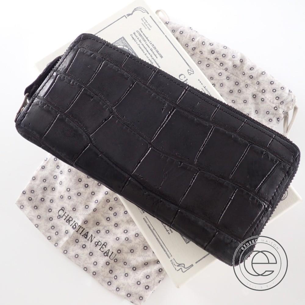 ce3ec5aeac8d CHRISTIAN PEAU クリスチャンポー クロコダイル ラウンドジップ 長財布(小銭入れあり) ブラック レディース