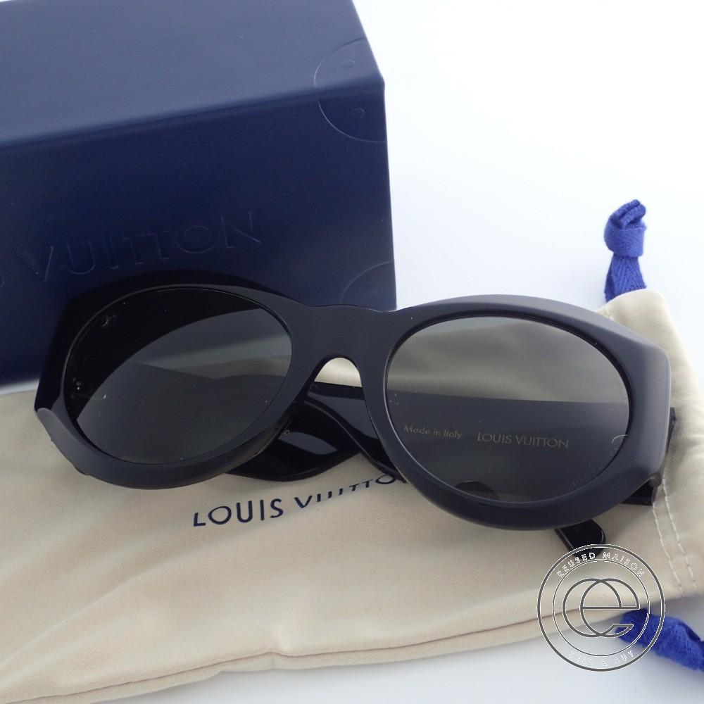 LOUIS VUITTON ルイヴィトン 18年製 Z1128E ラヴェンテュラ LVサークル ラウンド型レンズサングラス 54□20 ブラック レディース 【中古】
