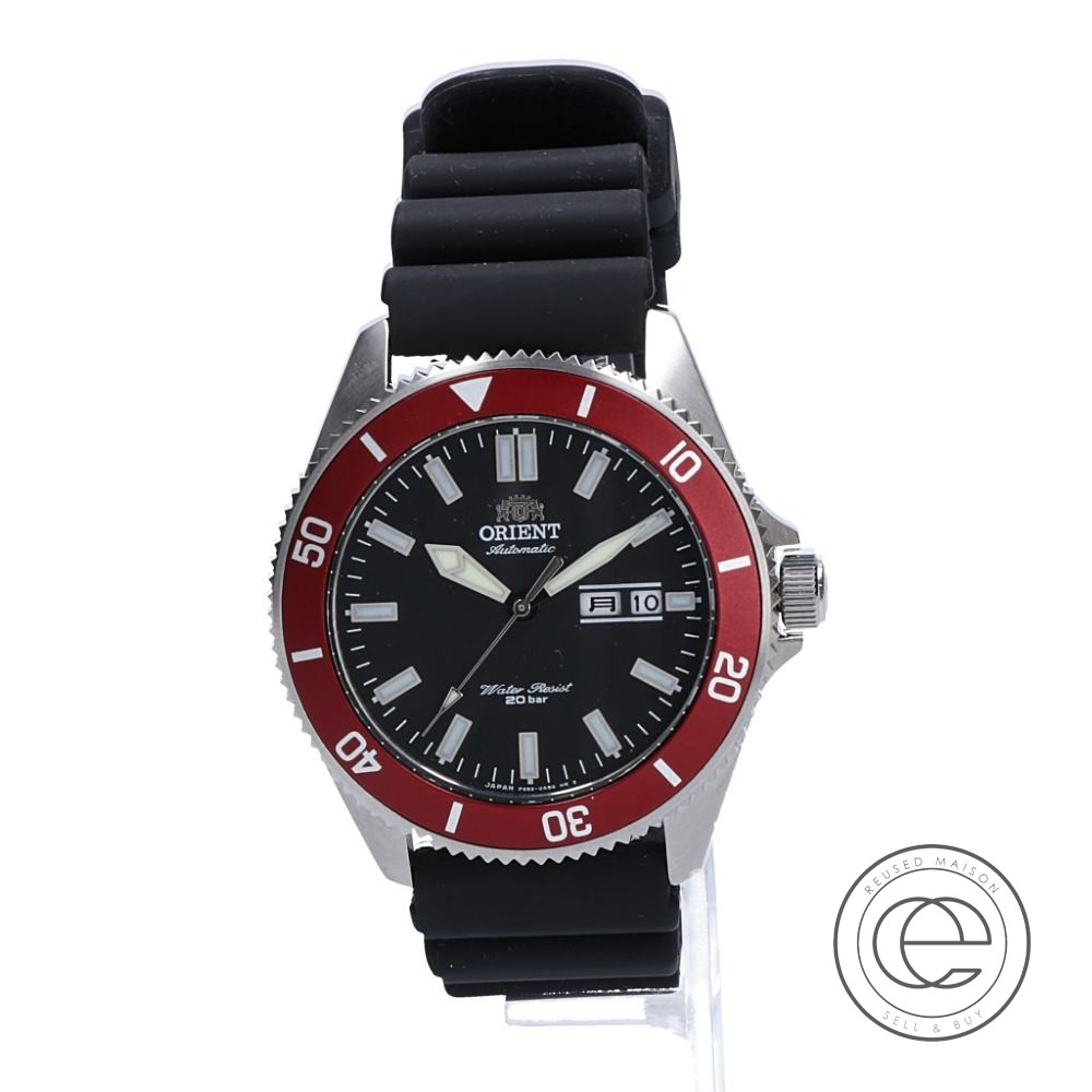 ORIENTオリエント RN-AA0008B F6922 Water RESISTANT 20bar 自動巻き(手巻き付)腕時計 シルバー/ブラック/レッド メンズ 【中古】