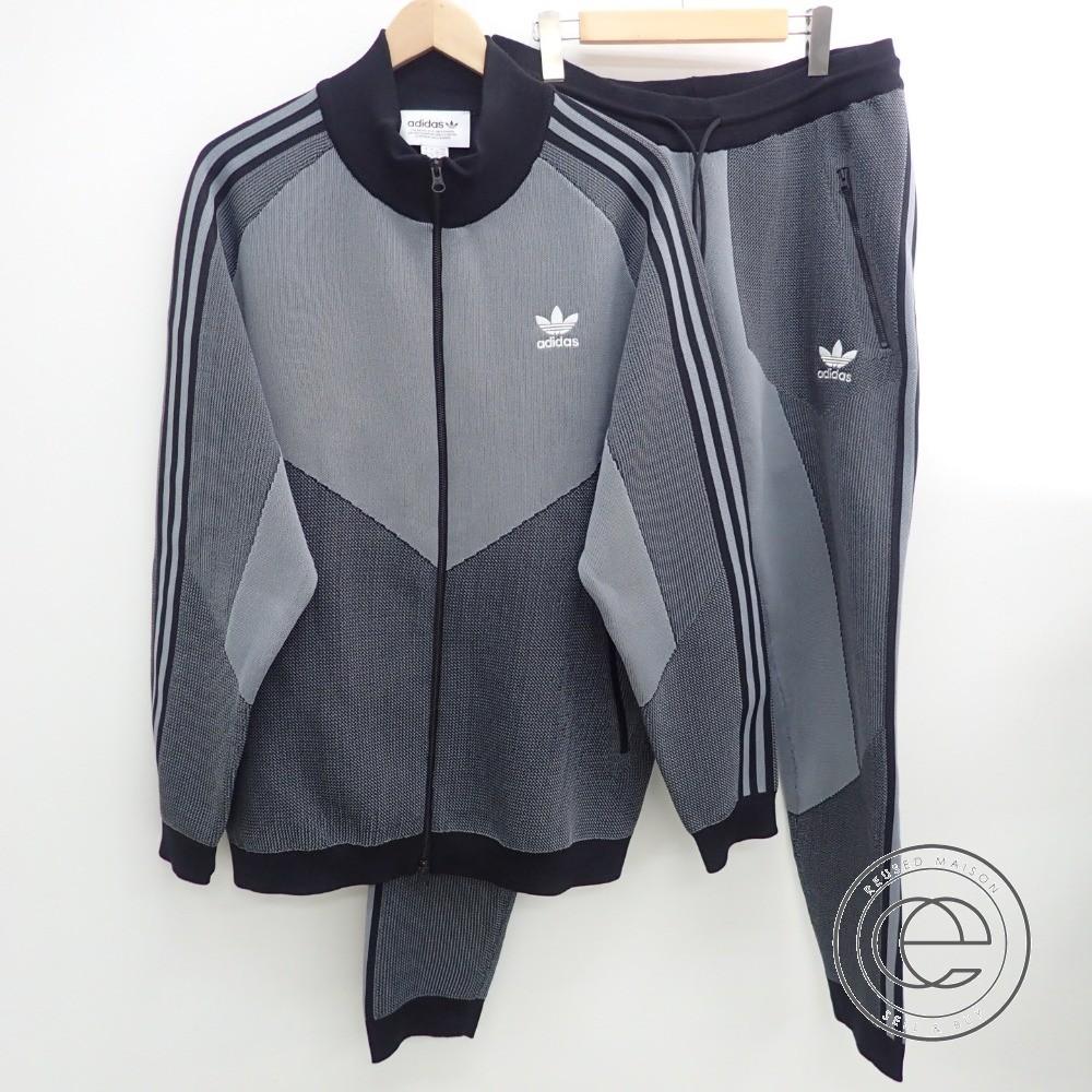 adidasアディダス CW5108 PLGN Knitted Track Jacket ニットトラックジャケット・パンツ セットアップ US:L グレー×ブラック メンズ 【中古】